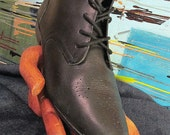 Black Vintage Boots Flat Oxford Laceup Wingtip for Ladies Size 8.5