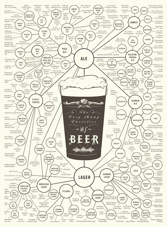 Beer Types Poster - The Very Many Varieties of Beer (18 x 24 Print)