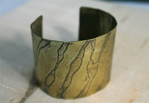 Etched Wide Cuff Bracelet Brass Animal Print Jewelry Handmade Metalwork Patina