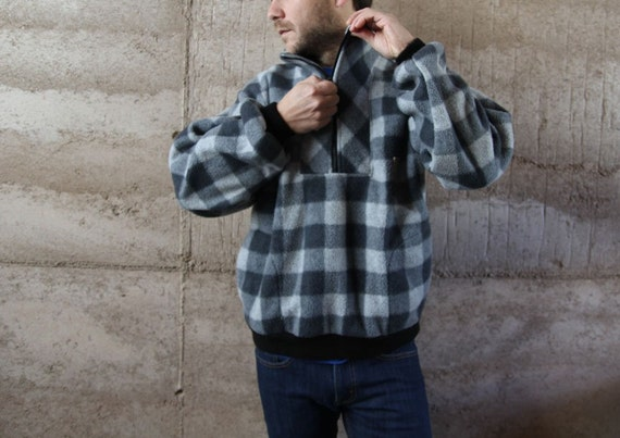 men's GRUNGE 90s fleece jacket BUFFALO CHECK plaid patterned coat
