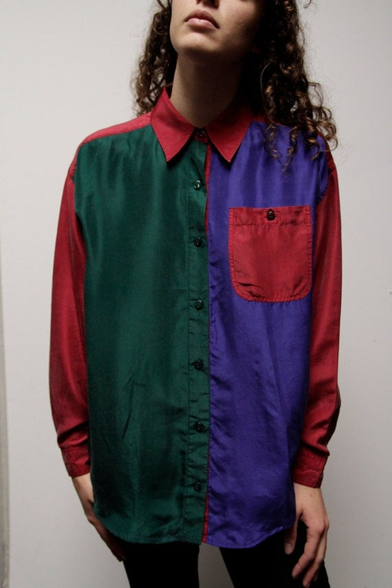 SILK vintage 80s 90s COLOR BLOCK oversize slouchy button up