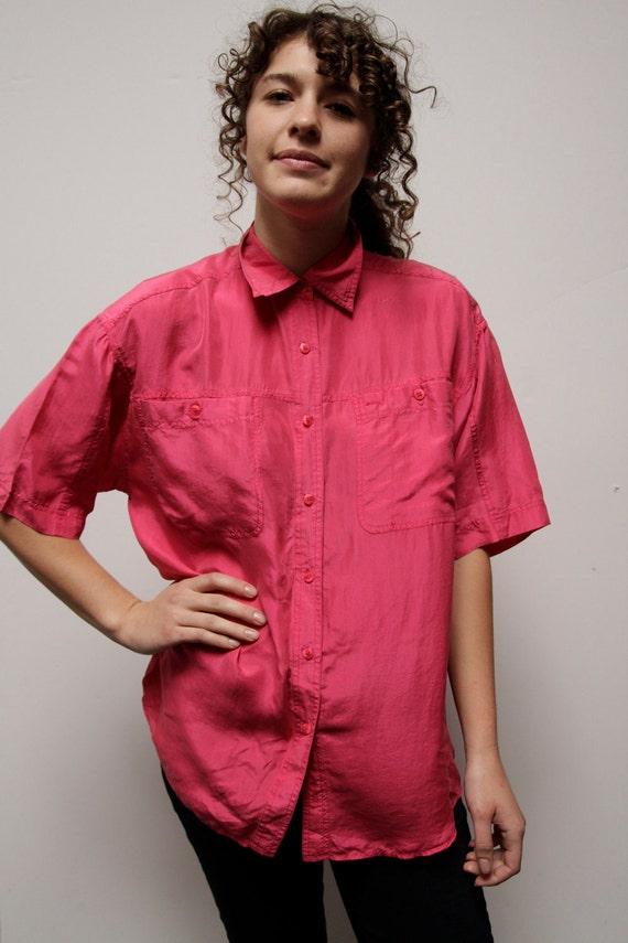 vintage 80s 90s OVERSIZE pink SILK button up short sleeve SHEER top