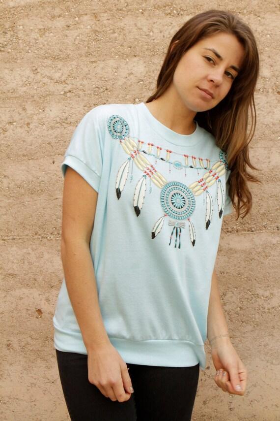 90s DREAMCATCHER native TEAL oversize slouchy SOUTHWEST t shirt top