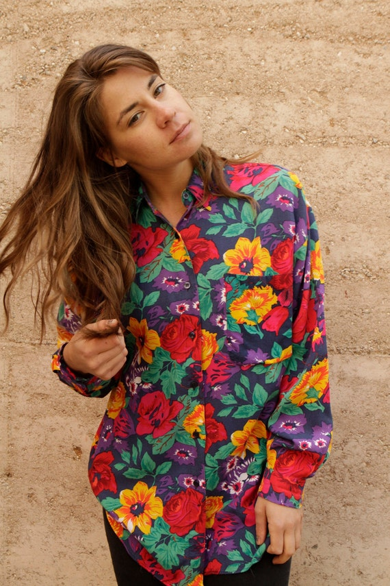 80s 90s FLORAL grunge bright SPRING summer button up blouse