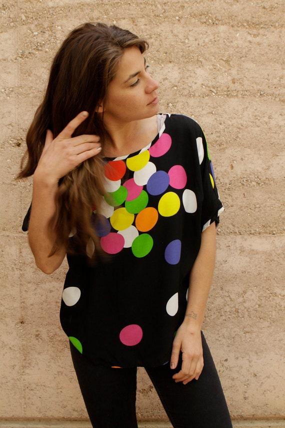 90s polka dot SLOUCHY oversize boxy short sleeve blouse top
