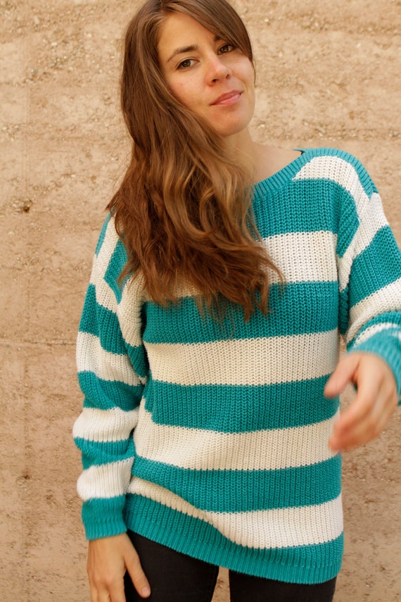 90s simple STRIPED white & turquoise textured grunge SLOUCHY warm sweater