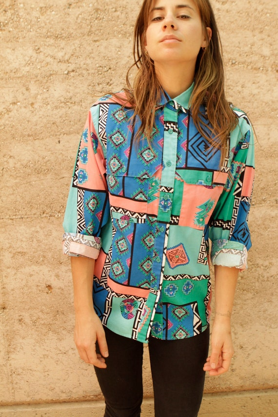 IKAT style BRIGHT southwest button up down shirt