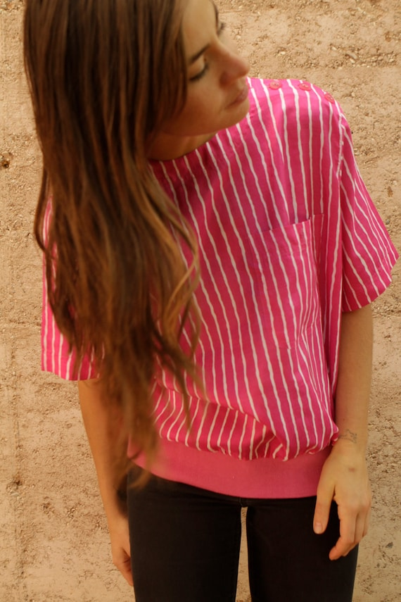 90s pink OXFORD vertical STRIPED preppy blouse