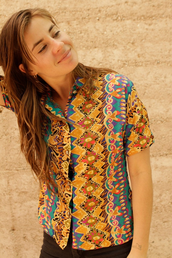 SLOUCHY southwest baroque SILKY oversize blouse vintage 80s 90s top