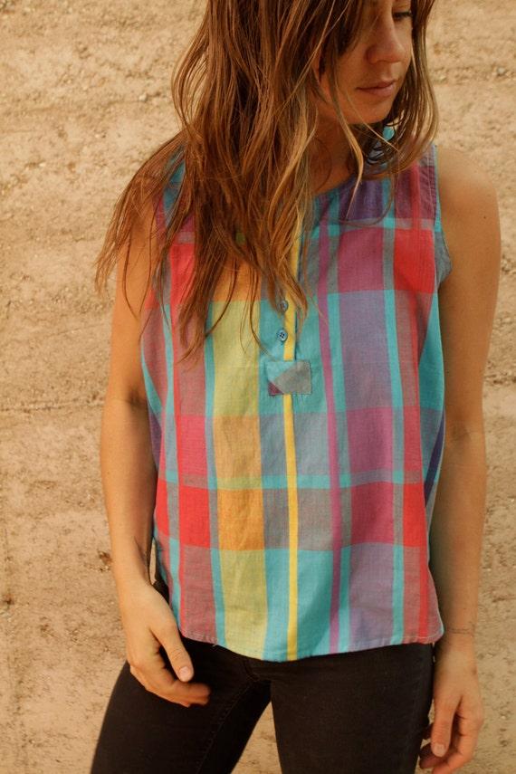 80s SHEER bright plaid TANK TOP henley button shirt