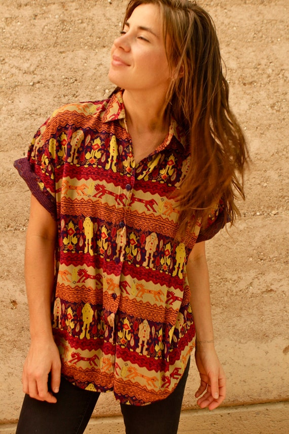 90s BRIGHT wild PSYCHEDELIC abstract MAYAN button down