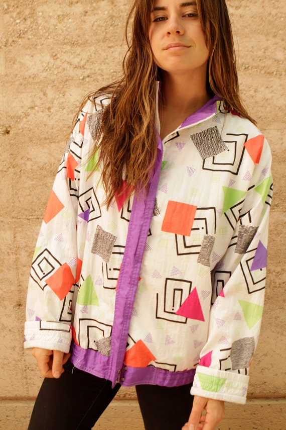 90s ABSTRACT neon contrast ski oversize SPRING summer jacket