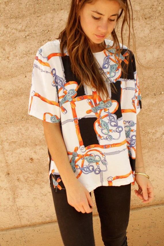 SLOUCHY baroque SILKY oversize blouse vintage 80s 90s top