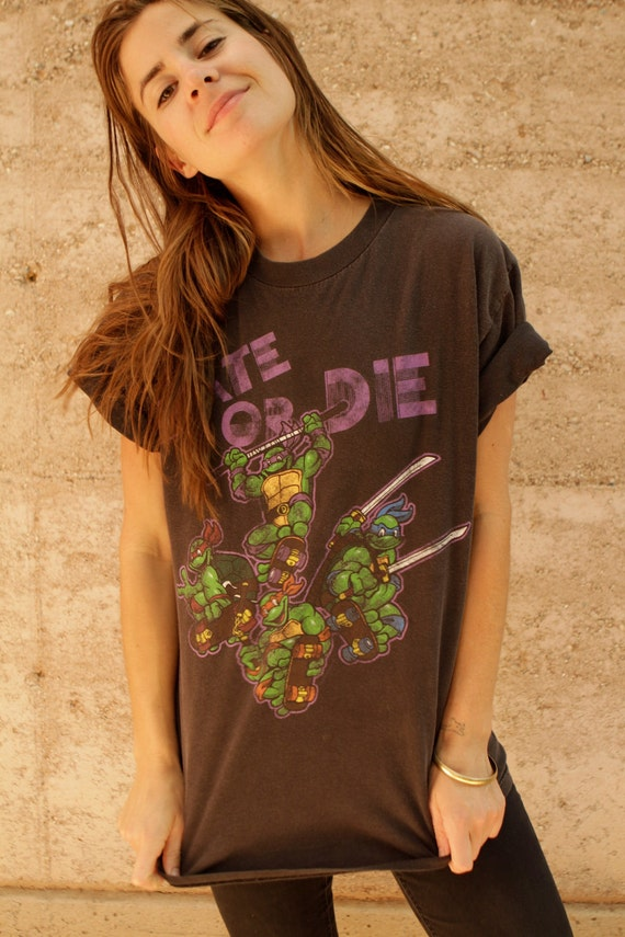 90s TEENAGE mutant NINJA turtles t shirt black top SKATE or die