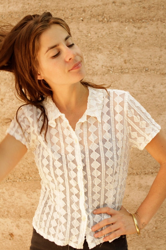 90s sheer WHITE LACE geometric pattern button up DOWN top shirt