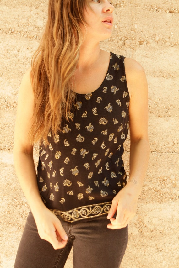 90s slouchy BAROQUE aladdin oversize VICTORIAN tank top