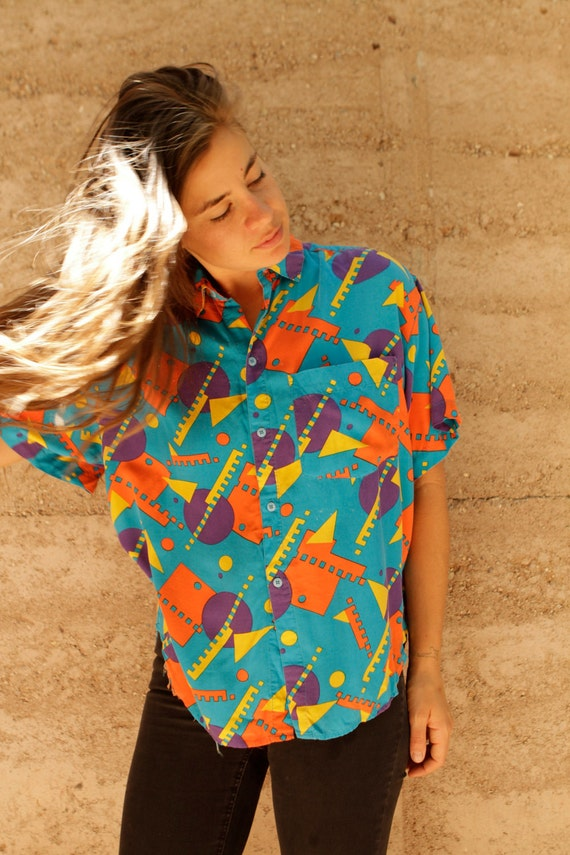 90s abstract color block BLUE & ORANGE geometric bright summer top