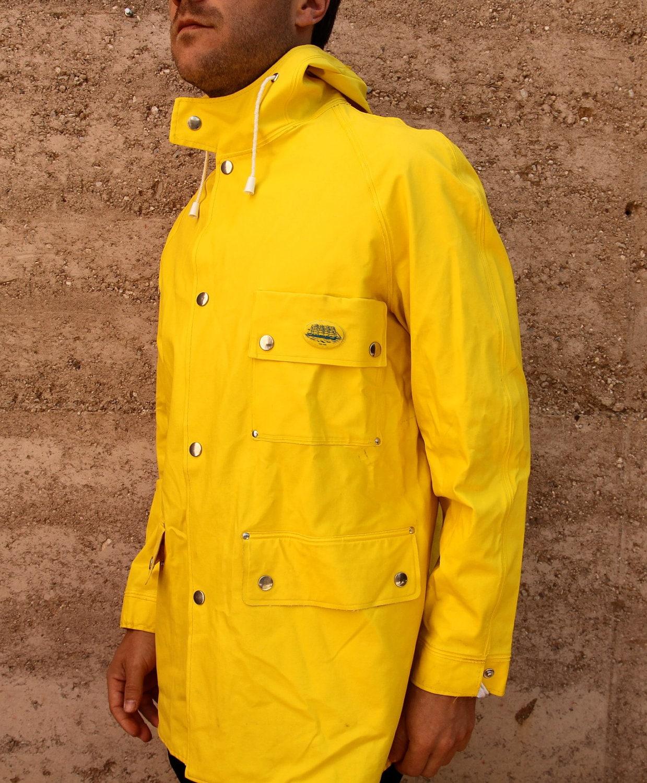 vintage 60s 70s NAUTICAL yellow RAIN SLICKER parka jacket