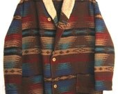 SALE. Mens Wool Blanket Coat by WOOLRICH Sherpa Fleece Collar. Quilted Lining for winter.. Size XL