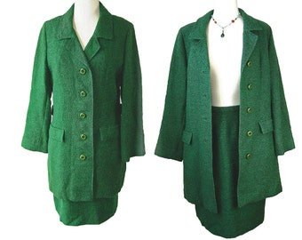 1960s Vintage Tweed Green Coat with Matching Skirt by McMullen.  Size Small Medium