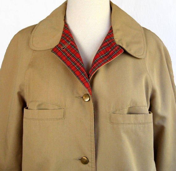 1970s Bonnie Cashin Tan Raincoat  with Red Plaid Lining Coat. Small to Medium