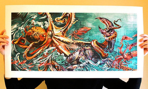 Octopus vs. Crab (full size limited edition)