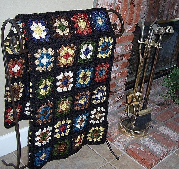 granny square, black, crochet blanket, afghan crochet, crocheted blanket, crocheted afghan