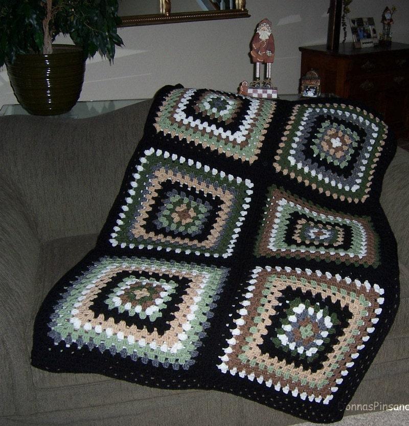 Afghan Crochet Granny Square Earth Tones Green Brown Beige