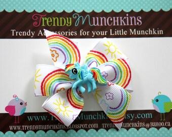 My little Pony Bow Clip - Rainbow Pinwheel Hair Clip