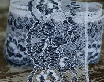 Black and White Vintage Wide Lace Trim Scalloped Floral 5 yards