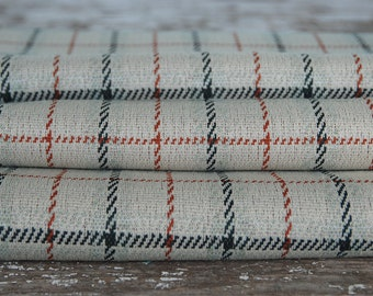 Vintage Green Plaid Polyester Fabric 2 1/2 yards