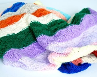 Baby Blanket Lap Blanket Throw Small Afghan Rainbow of Colors