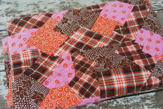 "Quilted Pink Brown and Orange Fabric 43""x58"""