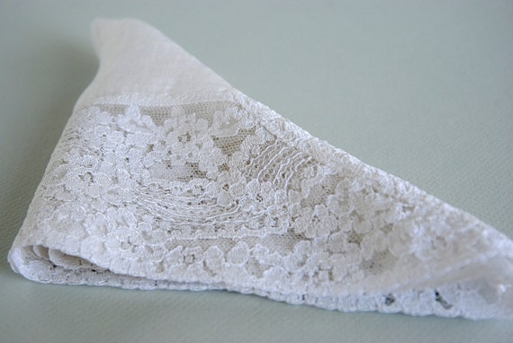 Womens Vintage Handkerchief - White Lace