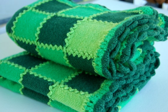 Forest Green Lime Green and Grass Green Crochet Afghan - Throw - Lap Blanket