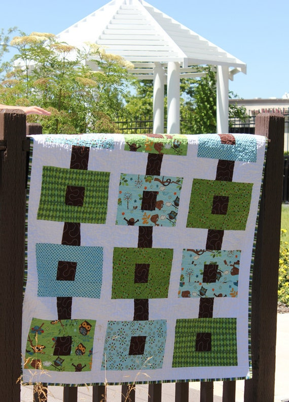 Baby Boy Quilt In Blues And Greens Cute Owls Amp By