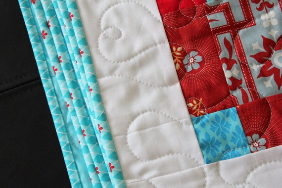 Red and Aqua Throw Quilt or Twin Size Coverlet