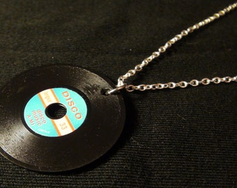 "VINTAGE American Minature RECORD/ VINYL 'disco' charm pendant necklace, on a Sterling Silver plated 16"" fine trace chain"