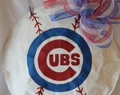 Chicago Cubs Handpainted Baseball Door Hanger-any team available