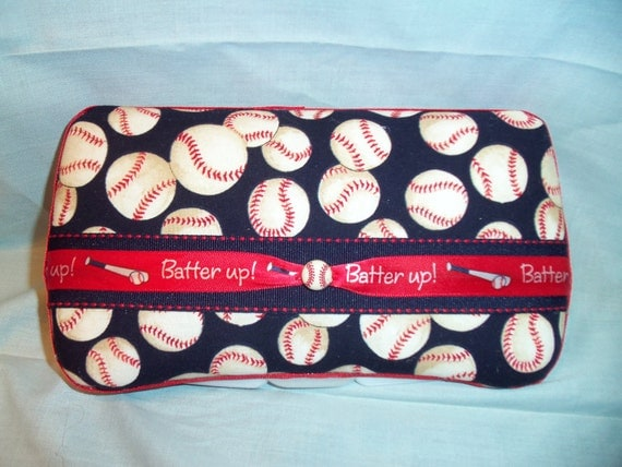 Custom Covered Baby Wipe Case Baseball Print