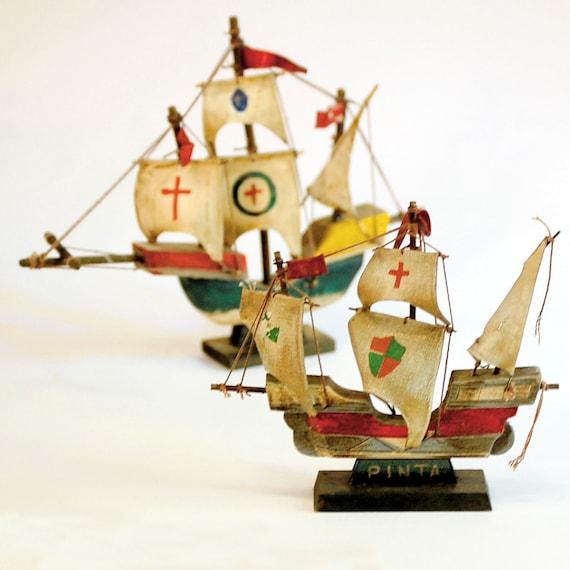 Vintage Nina Pinta And Santa Maria Ship Models