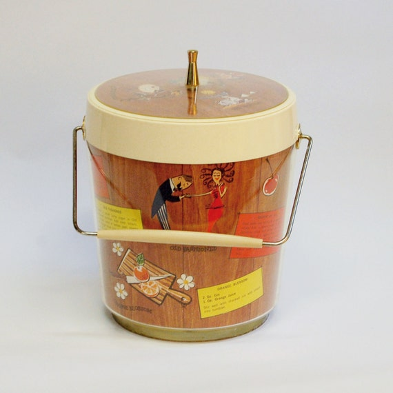 Vintage Kitsch Ice Bucket, Mid Century Atomic Cocktail Bar