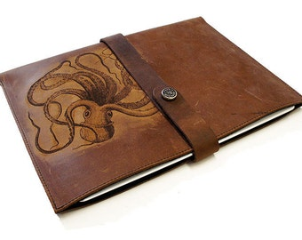 iPad Distressed Leather Sleeve - Octopus