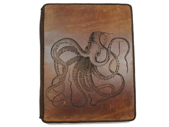 Ipad 2 Leather Book Cover Case - Octopus