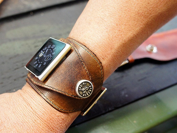 Ipod Nano Leather Watchband - Antique