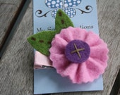 Pink with Purple Felt Flower Hair Clip-no slip clip