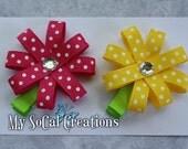 Ribbon Flower Hair Clips/Pinwheel Flower Hair Clips-No slip Clips / Shocking Pink & Yellow