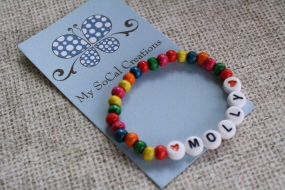 Bright Rainbow Wood Bead Personalized Name ID Bracelet-Any Name-Any Word-Any Phrase