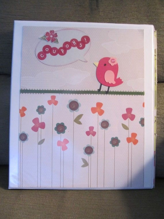 "Coupon Organizer (binder) (SALE PRICE) decorated with cute pink ""coupon"" bird and flowers"