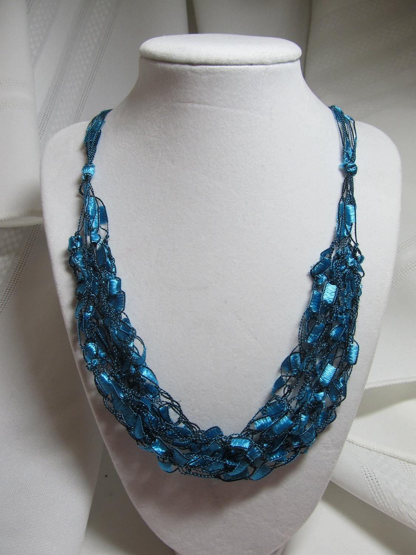 Free Crochet Patterns Using Ribbon Yarn : Trellis Ladder Ribbon Yarn Necklace FREE SHIPPING